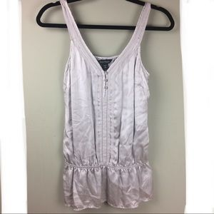 WH/BM Silk Peplum Ribbon Trim Tank Size Medium